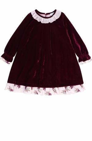 Платье-миди свободного кроя с оборками Monnalisa. Цвет: бордовый