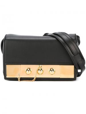 Клатч с золотистой отделкой Anthony Vaccarello. Цвет: чёрный