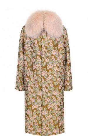 Пальто с цветочным принтом и отделкой из меха песца Bally. Цвет: разноцветный