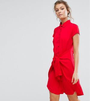 Closet London Платье с короткими рукавами и завязкой спереди. Цвет: красный