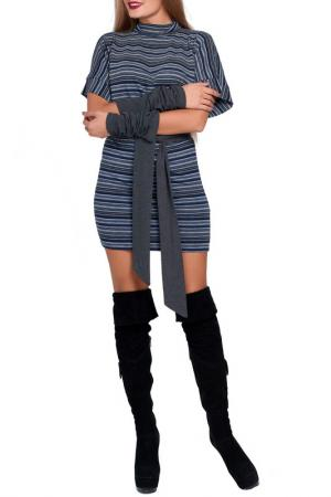 Платье с поясом Majaly. Цвет: серо-синий