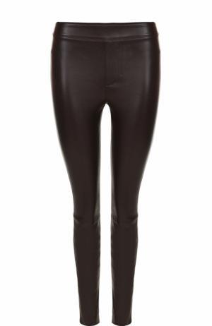 Однотонные кожаные брюки-скинни Helmut Lang. Цвет: коричневый