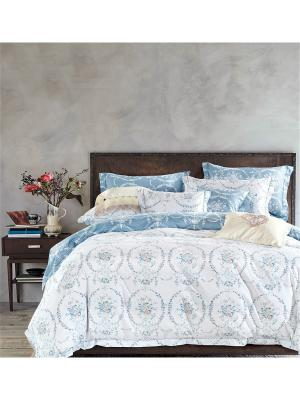 Постельное Белье 1,5-Спальное, Хлопок-Сатин Asabella. Цвет: белый, серо-голубой