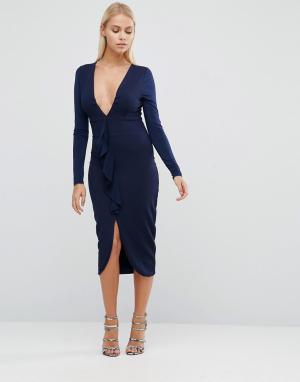 Hedonia Платье-футляр с длинными рукавами. Цвет: темно-синий