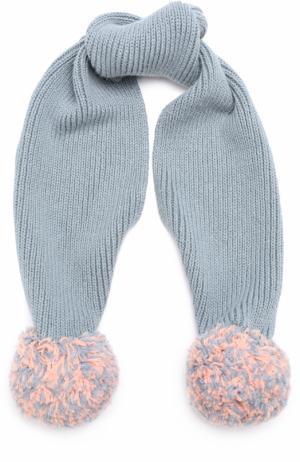 Вязаный шарф с помпонами Stella McCartney. Цвет: голубой