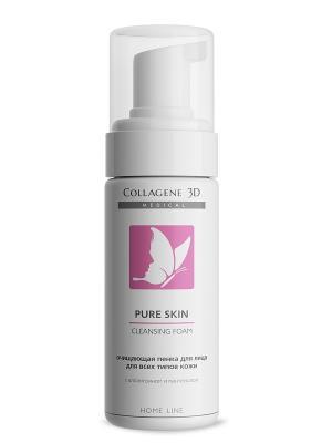 Очищающая пенка для всех типов кожи Pure skin Medical Collagene 3D. Цвет: белый, розовый