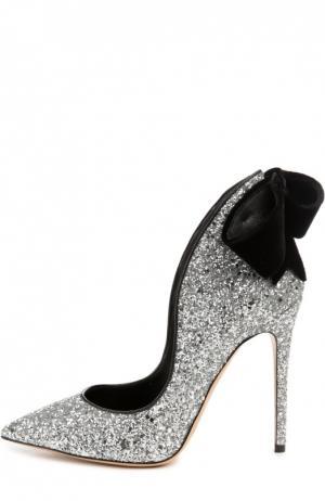 Туфли Louisa с блестками и бантом Aleksandersiradekian. Цвет: серебряный