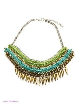 Ожерелье ГАНГ. Цвет: голубой, салатовый