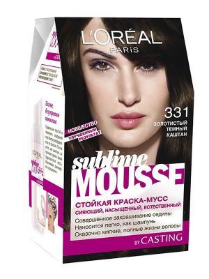 Стойкая краска для волос Sublime Mousse, оттенок 331, Золотистый темный каштан, 209 мл L'Oreal Paris. Цвет: антрацитовый