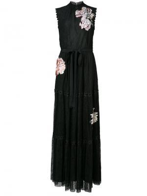 Длинное платье с кружевной отделкой Celina Sachin & Babi. Цвет: чёрный