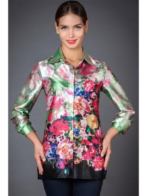 Блузка Арт-Деко. Цвет: светло-зеленый, бежевый, бледно-розовый, серо-зеленый, фуксия