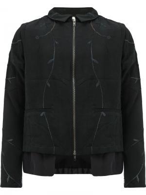 Куртка на молнии с вышивкой By Walid. Цвет: чёрный