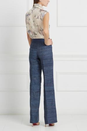 Шелковые брюки LAROOM. Цвет: синий