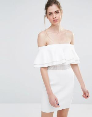 Endless Rose Вязаное платье мини в рубчик с сетчатой вставкой. Цвет: белый