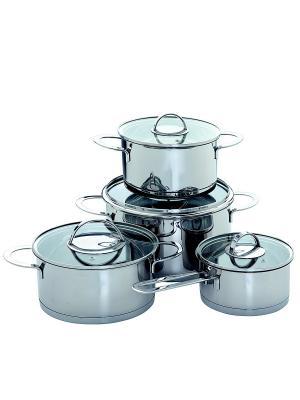 Набор посуды из нержавеющей стали, 8 предметов Augustin Welz. Цвет: серый