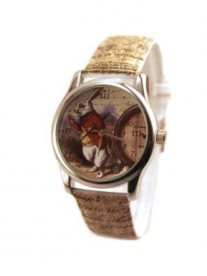 Дизайнерские часы Белый кролик Tina Bolotina. Цвет: темно-коричневый, светло-серый