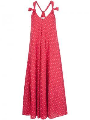 Свободное платье Tea Length The Great. Цвет: красный