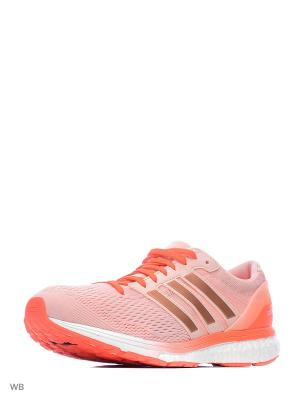 Кроссовки жен. adizero boston 6 w  VAPPNK/VAPPNK/SOLRED Adidas. Цвет: бледно-розовый, оранжевый