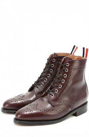 Кожаные ботинки с брогированием Thom Browne. Цвет: бордовый