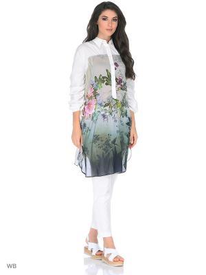 Рубашка Mariagrazia Panizzi. Цвет: серо-зеленый, белый