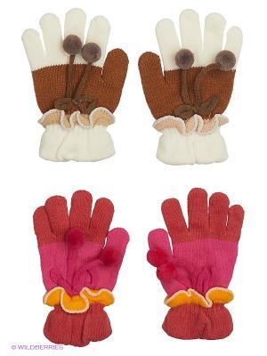 Перчатки FOMAS. Цвет: коричневый, фуксия, белый