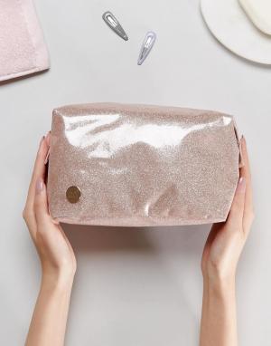 Mi-Pac Блестящая косметичка цвета шампанского. Цвет: розовый