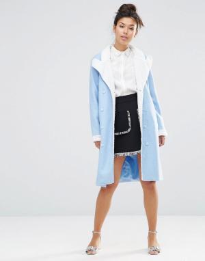 The WhitePepper Пальто-oversize с плюшевым воротником. Цвет: синий