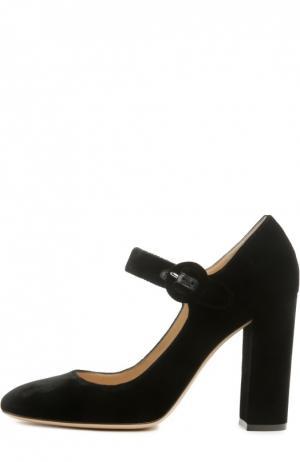Бархатные туфли Lorraine с ремешком Gianvito Rossi. Цвет: черный