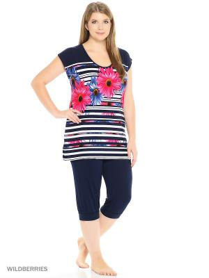 Домашний костюм Nicole collection. Цвет: лиловый, белый, синий