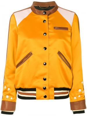 Куртка-бомбер Varsity Racer Coach. Цвет: жёлтый и оранжевый