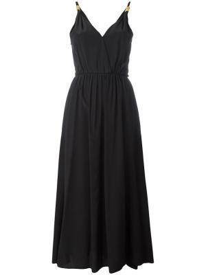 Платье миди с V-образным вырезом Forte. Цвет: чёрный