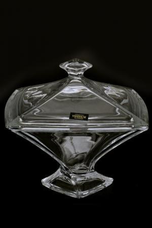 Конфетница с крышкой 22 см Crystalite Bohemia. Цвет: прозрачный