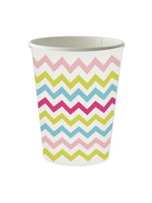 Стаканы бумажные.  240 мл MIX EM UP DUNI. Цвет: белый, голубой, розовый, желтый