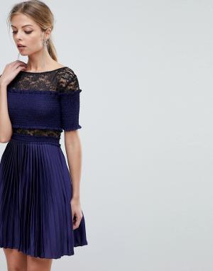 Three Floor Плиссированное платье мини с кружевными вставками. Цвет: темно-синий