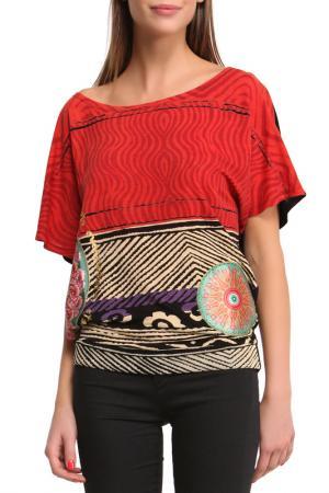 Блуза Desigual. Цвет: red, black