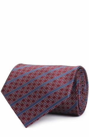 Шелковый галстук в полоску Brioni. Цвет: бордовый
