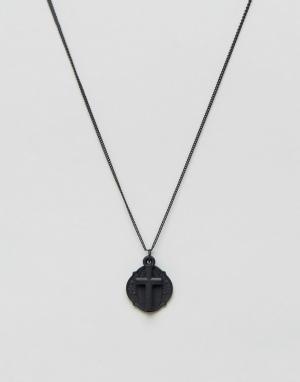 Chained & Able Черное ожерелье с крестом. Цвет: черный