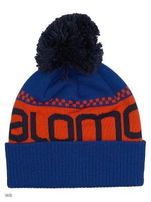 Шапка JUNIOR LOGO BEANIE SALOMON. Цвет: черный, синий, оранжевый