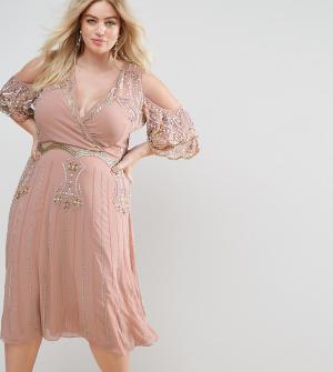 Frock and Frill Plus Премиум-платье миди с декоративной отделкой и открытыми плечами. Цвет: бежевый