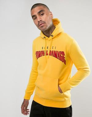 Criminal Damage Худи жёлтого цвета с логотипом. Цвет: желтый