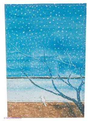 Обложка для автодокументов Котик под деревом Mitya Veselkov. Цвет: голубой