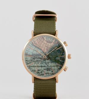 Reclaimed Vintage Зеленые часы с парусиновым ремешком Inspired эксклюз. Цвет: зеленый