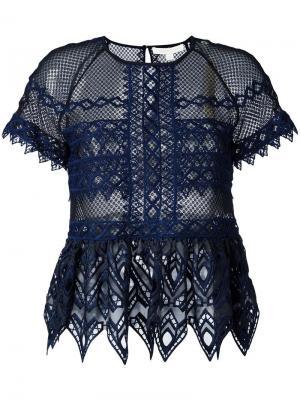 Прозрачная блузка с вырезными деталями Jonathan Simkhai. Цвет: синий