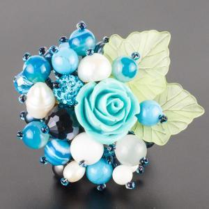 Брошь Флоренсия самоцветы, пластик, арт. бшС-2960 Бусики-Колечки. Цвет: голубой