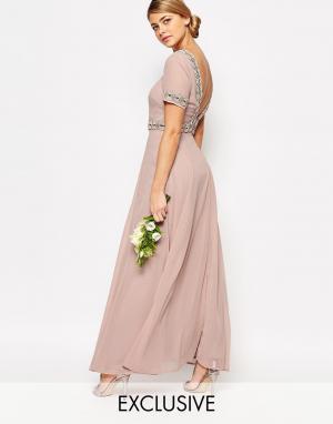 Maya Платье макси с пышной юбкой и отделкой. Цвет: розовый