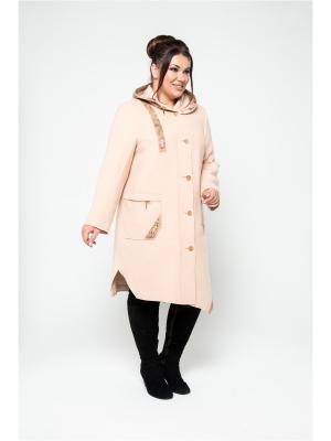 Пальто KR. Цвет: бежевый, бледно-розовый