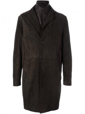 Однобортное кожаное пальто Canali. Цвет: коричневый
