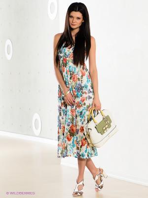 Платье COMPAGNIA ITALIANA. Цвет: белый, зеленый, голубой