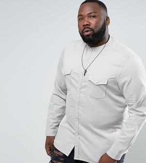 ASOS Серая эластичная джинсовая рубашка слим в стиле вестерн PLUS. Цвет: серый