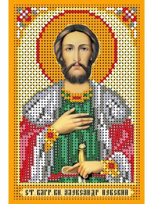 Рисунок на шелке св.Александр Невский Матренин Посад. Цвет: бежевый, зеленый